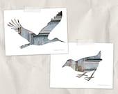 bird silhouette art print, 5x7, set of 2, architectural, wall decor, stork, animal art print, gray, rusty, blue, home decor