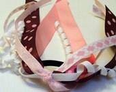 Pink and Brown Hair Ribbons Ponytail holder Hair tie