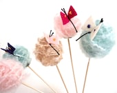 Craspedia Cake Toppers. Craspedia Flowers with Butterflies. Yarn Flower Cake Toppers.