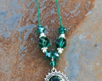 Sale Necklace, Teal Blue Necklace, Aqua Blue Green Necklace, Quartz Necklace, Sterling Silver Necklace, Handmade Necklace, Clearance