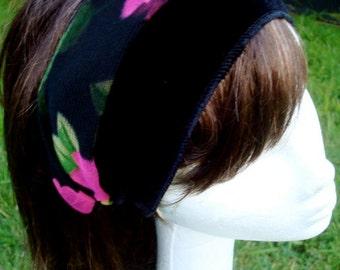 Womens Stretch Head band headband Head Wrap  black Velvet Floral