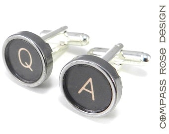 TYPEWRITER Cufflinks - Vintage Typewriter Letters Q and A Personalized Industrial Steampunk Accessory