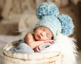 Crocheted Double Pom Pom Baby Hat, Baby Boy Hat, Baby Girl Hat, Newborn Pom Pom Hat, Baby Photography Prop, Newborn Photo Prop