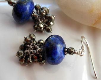 Lapis Lazuli Pyrite Sterling Silver Tassel Earrings