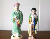 Vintage Pair Of Oriental Japanese Figurines - Mid Century Made In Japan