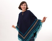 Vintage 1970s Poncho - 70s Wool Cape - Navy Blue and Turquoise