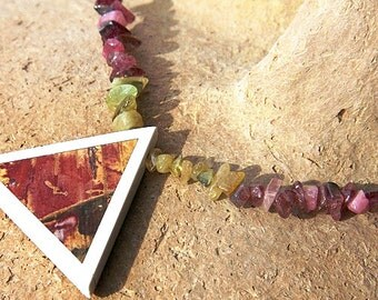 Boho Jewelry Genuine Gemstone Jewelry Tourmaline Crystal Statement Necklace Unique Picture Jasper Triangle Intarsia Geometric Pendant