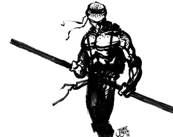 Donatello Teenage Mutant Ninja Turtle comic art illustration pen n ink 11x17 glossy print TMNT
