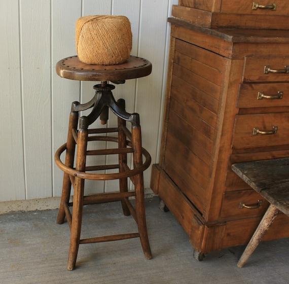 Antique industrial adjustable swivel drafting stool
