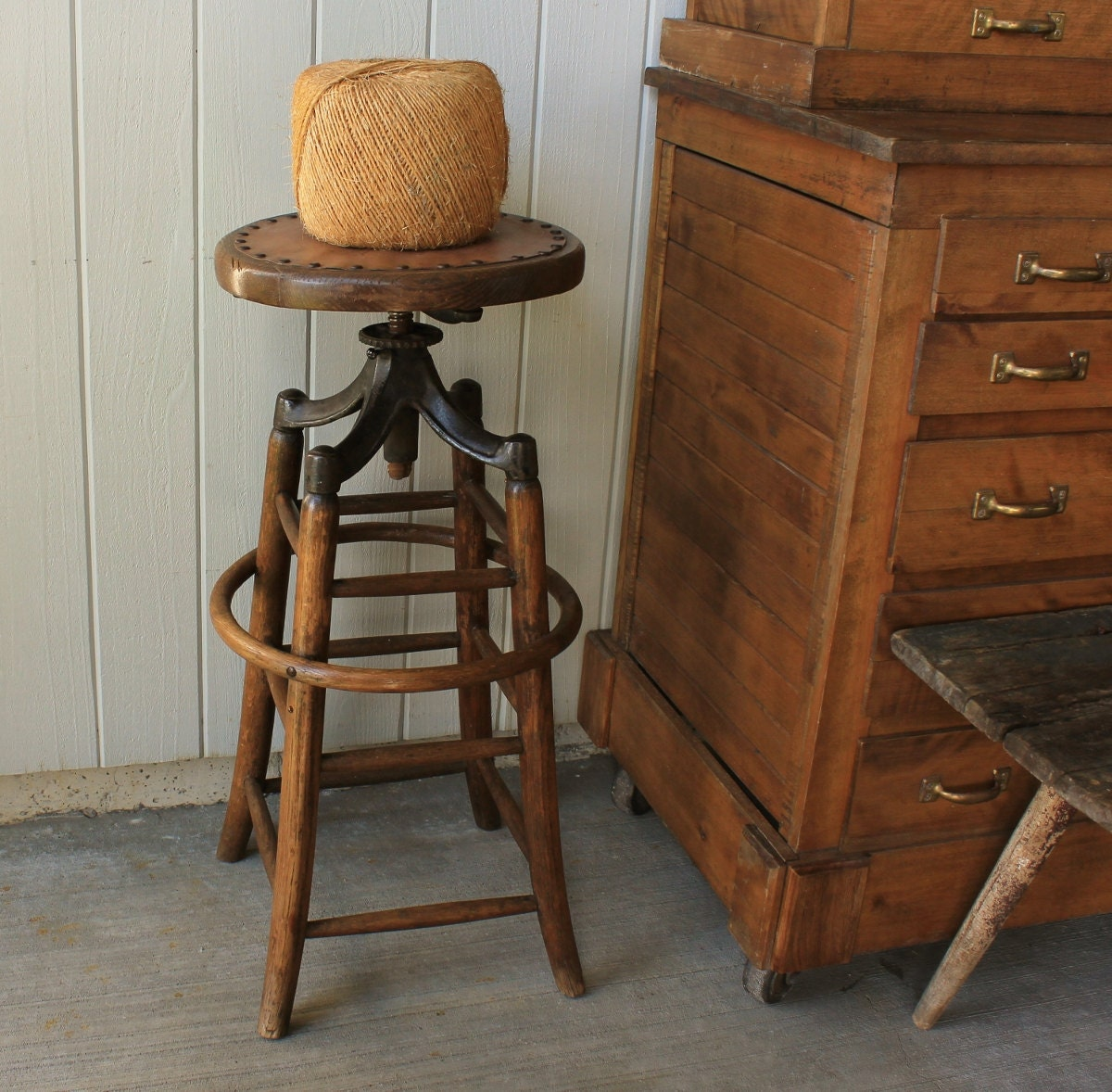 Antique Industrial Adjustable Swivel Drafting Stool