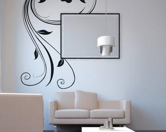 Vinyl Wall Decal Sticker Swirly Hibiscus OSAA377s