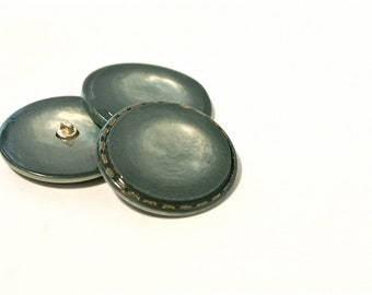 Green Vintage Buttons - 1960s Plastic Buttons - New Old Stock Buttons - Sea Foam Buttons with gold dashed border- Metal Shank
