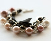 Rose Shell Pearl Beads, Chains and Black Satin Ribbon Bracelet