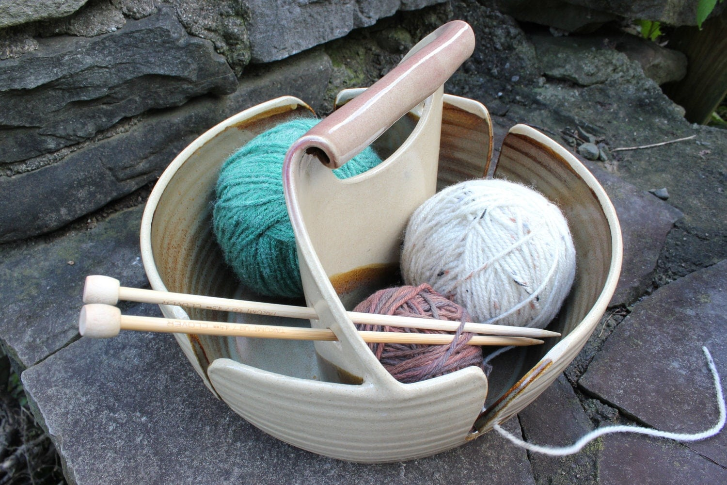 Yarn Bowl Double Yarn Bowl Double Yarn Bowl Tan Yarn