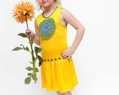 Girls dress knit canary yellow flower dress for 4 -5 years old toddler girl SALE