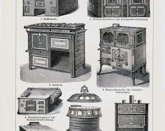 1908 Edwardian OLD KITCHENS print of a cooking stoves and cooking equipment, 104 years old nice lithograph