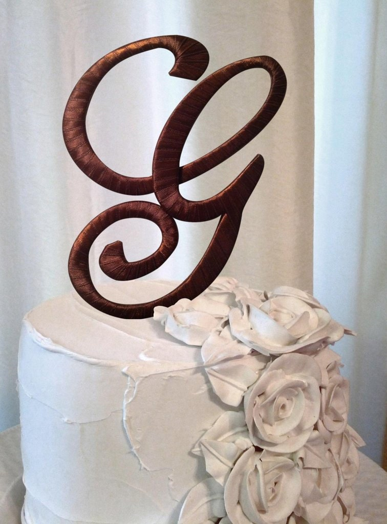 wedding cake topper letter g the letter g wedding cake topper in chocolate brown 26348