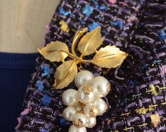 Art Deco Pearl Grape Cluster Pin Brooch