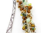 Autumn Colours Beaded Bookmark with Maple Leaf Charms