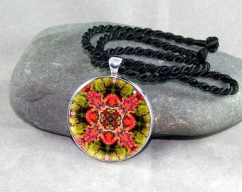 Autumn Leaf Mandala Pendant Necklace Boho Chic New Age Sacred Geometry Hippie Kaleidoscope Unique Gift For Her Gypsy Mod Fall DreamCatcher
