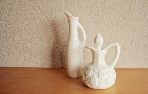 Vintage Milk Glass Vases or Cruets - Set of Two