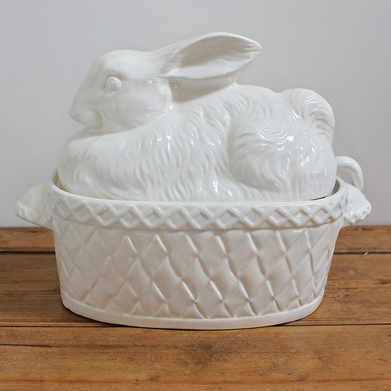 White Ceramic Rabbit Bunny Covered Soup Tureen