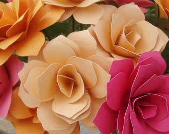 Paper Roses On stems with leaves  You Pick the colors  qty 24 for weddings showers home decor