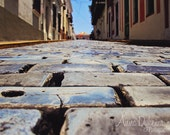 Travel Photography - Old San Juan - Fine Art Photograph travel architecture home decor brick street blue yellow gold