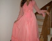 Vintage 70s Prom Maxi Gown / Boho Peach Princess Dress
