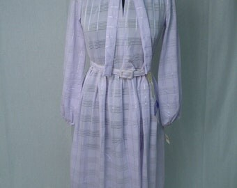 Vintage NOS 70s Shirt Dress Secretary Dress in Lilac Small