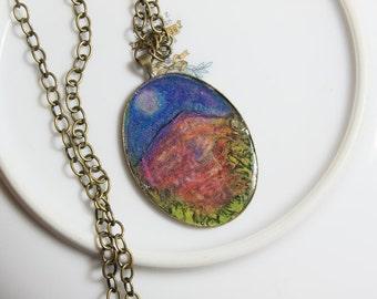 Mountain of the full Moon rising- Original Art resin cast pendant