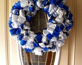Blue, White and Silver Christmas Ribbon Wreath