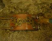 Celtic Leaves Leather Wallet Cuff Hand Tooled