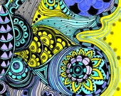 BUTTERFLY fine art PRINT- yellow purple blue ink and acrylic painting