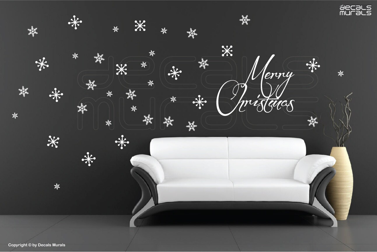 wall decals merry christmas snowflakes holidays christmas. Black Bedroom Furniture Sets. Home Design Ideas