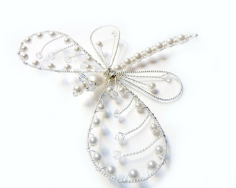 White Wedding Pearl  Dragonfly Hair Pin, Brooch or Bouquet decoration -  Dragonfly Jewelry - Tagt