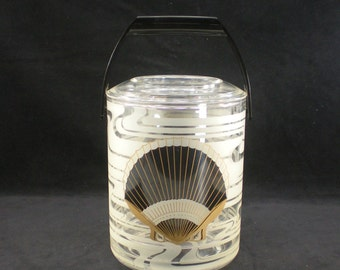 Culver Black Shell Ice Bucket - Plastic/acrylic Bar - Mod 70s