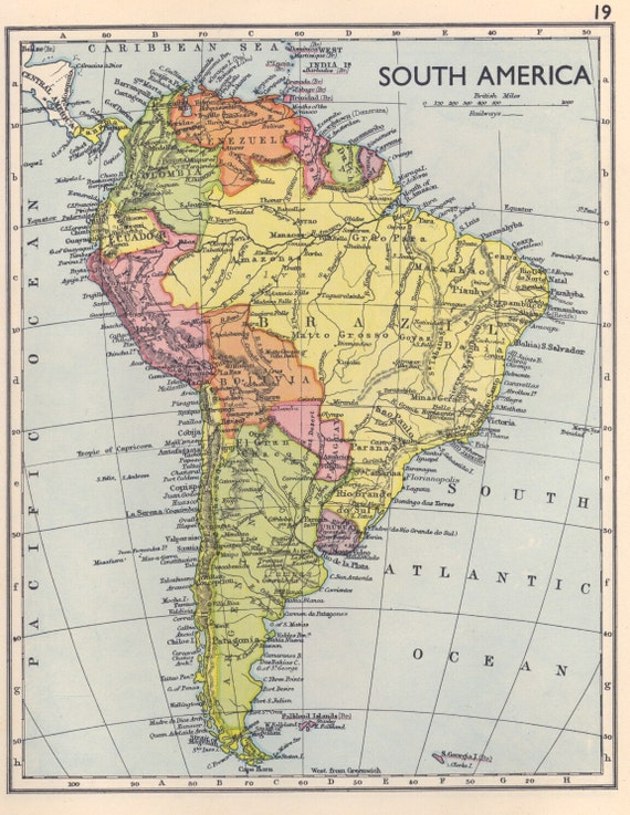 1930s vintage south america map vintage atlas page map decor for South american decor