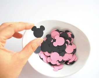 100 Mickey confetti (1 inch) die cut cardstock confetti in pink and black A407