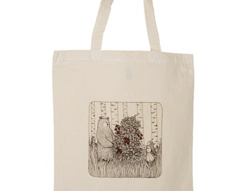 Bear, Raspberries and a Girl Tote Canvas Bag illustrated Reusable Eco bag