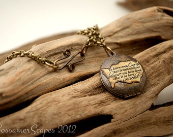 Antique Locket with inspirational CUSTOM quote brass