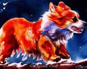 Original Corgi Watercolor Painting Illustration Pembroke Welsh Corgi red gold orange art