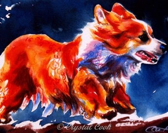 Original Corgi Watercolor Painting Illustration Pembroke Welsh Corgi red gold orange art