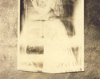 Unusual Photo of a Photo of a WOMAN in COTTON DRESS Photo Postcard Circa 1910