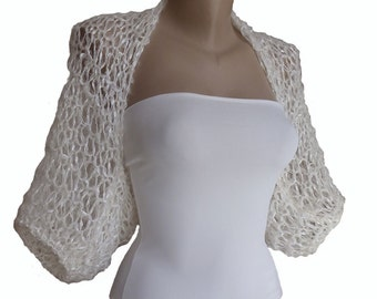 Milk White Knit Bridal Bolero Shrug Sleeves Wrap, Wedding Bolero, Weddings Bridal Bridesmaid Women For her