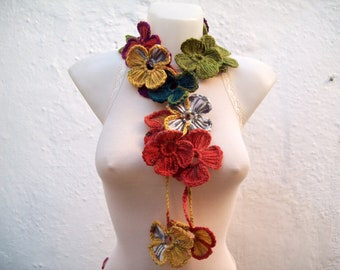 Crochet Neck wrap, Lariat Scarf, Flower Colorful Scarves, Crocheted Belt, Jewellery, Women Accessories, Autumn Necklace, Christmas Gift