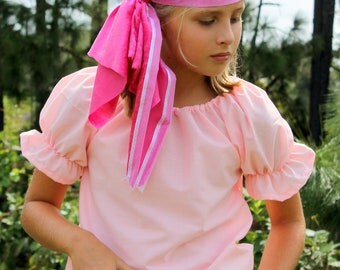 Handmade Pirate Costume Pink Shirt and Pink crushed velvet Bandana Girl Halloween