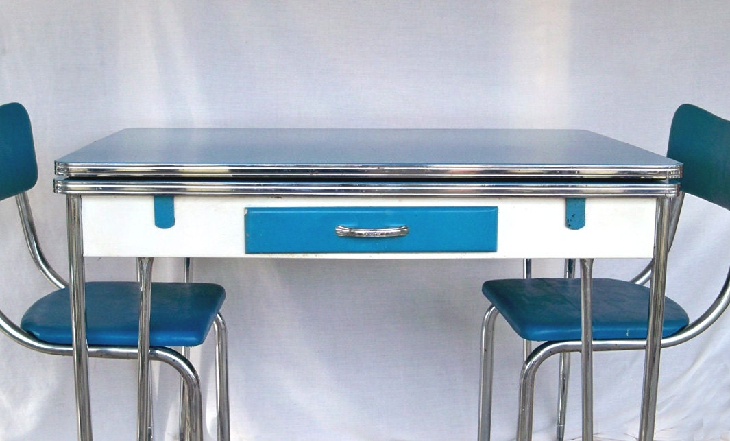 1950s Blue White Amp Chrome Kitchen Table And 3 Matching Chair
