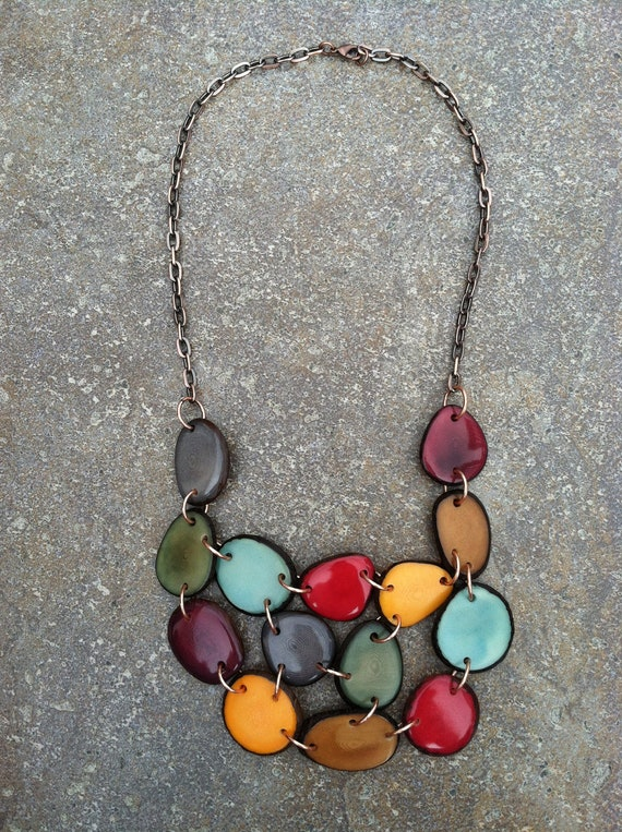 tagua necklace tagua nut jewelry bib by seladesigns
