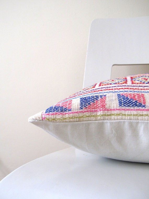 13 x 20 Chiang Mai Breeze hand - stitched tribal cotton pillow cover